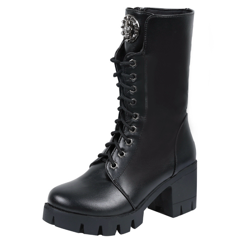 ФОТО Winter Boots Promotion Pvc Ankle Lace-up Round Toe Botas Mujer 2016 New Boots Fashion Color High-heeled Elastic Stovepipe Biker