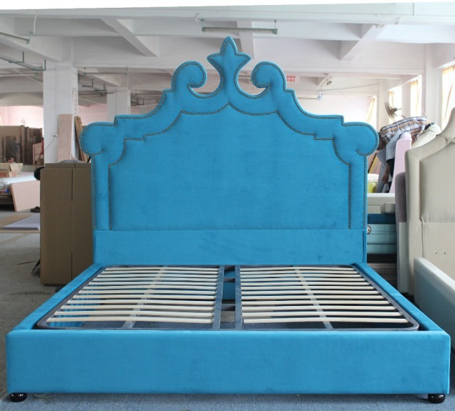 the blue children sleeping bed frame of modern peacock style home furniture for double - Blue Bed Frame