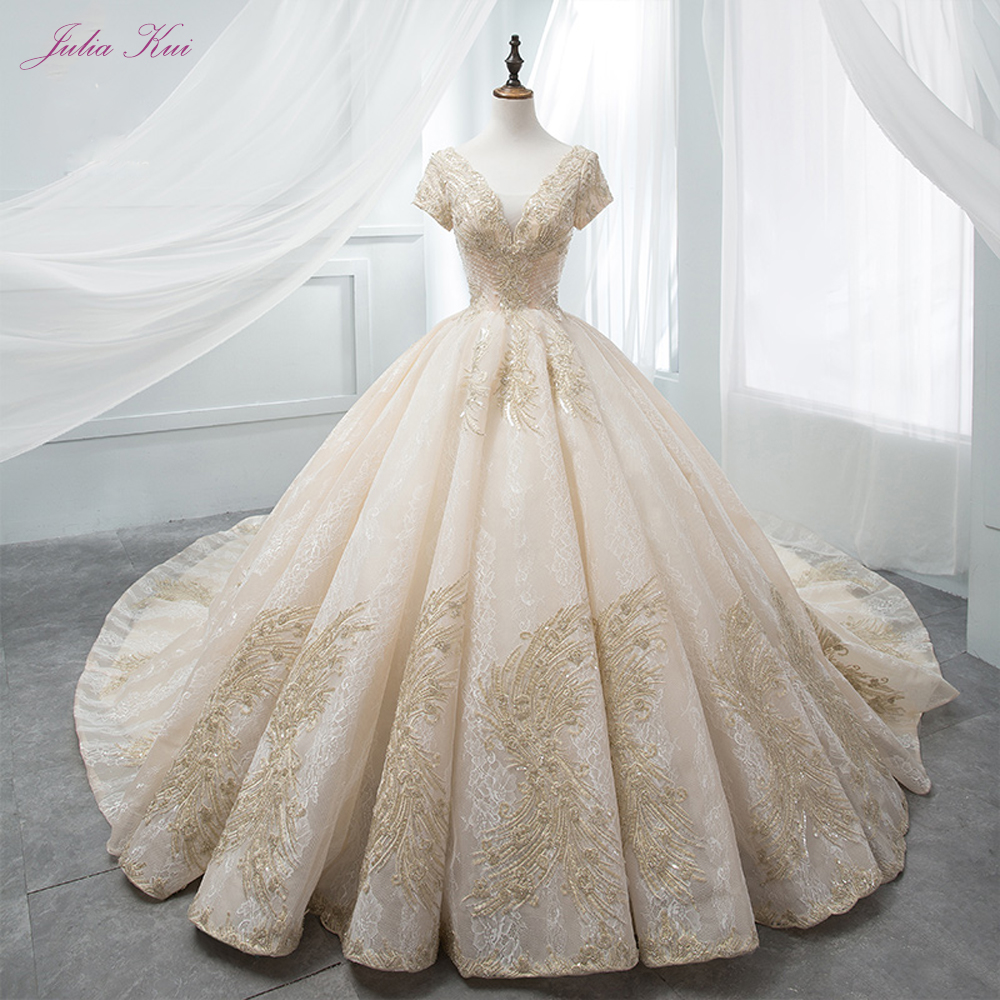 Julia Kui Vintage Golden Line Pattern V-Neckline Ball Gown Wedding Dresses 2019 With Cap Sleeves  Newest