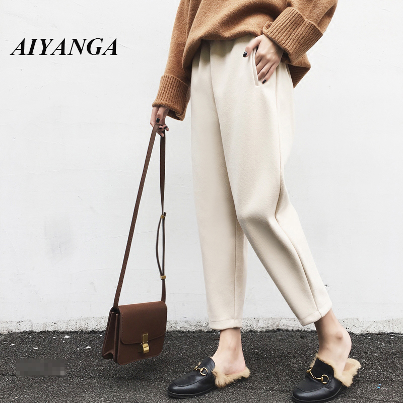 Plus Size 4XL 2018 Winter Autumn Woolen High Waist Women   Wide     Leg     Pants   Casual Elastic Waist Warm Female Ankle Length Trousers