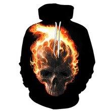 2019 New Hoodies flame skull print 3D Sweatshirt Men Brand Hoodie Casual Tracksuit Pullover DropShip Streetwear Hoody Tops