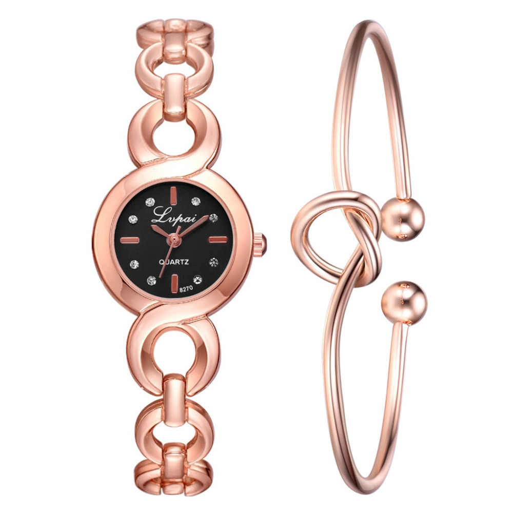 2019 mode montres moderne LVPAI boucle lien sangle Simple Point perceuse cadran montre en forme de coeur noeud Bracelet quartz mouvement AA4