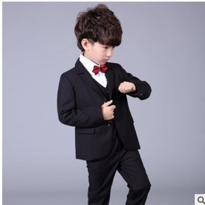 Black Suits Toddler Boys Suits For Weddings Kids Tuexdo Big Children Clothing Set Boy Formal Classic Costume Kids Prom Suits