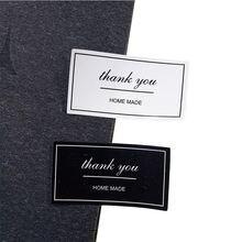 100 шт/лот черно белая прямоугольная наклейка «thank you» Подарочная