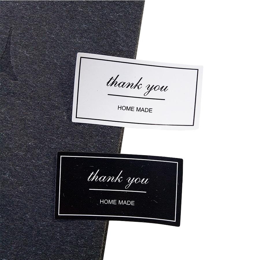 120pcs/lot Black And White 'Thank You' Rectangular Seal Sticker Gift Sticker For DIY Homemade Bakery Packaging Decoration Label