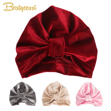f7f19cb96 Fashion Velvet Baby Hat for Girls Boys Autumn Winter Baby Turban Cap  Photography Props Elastic ...