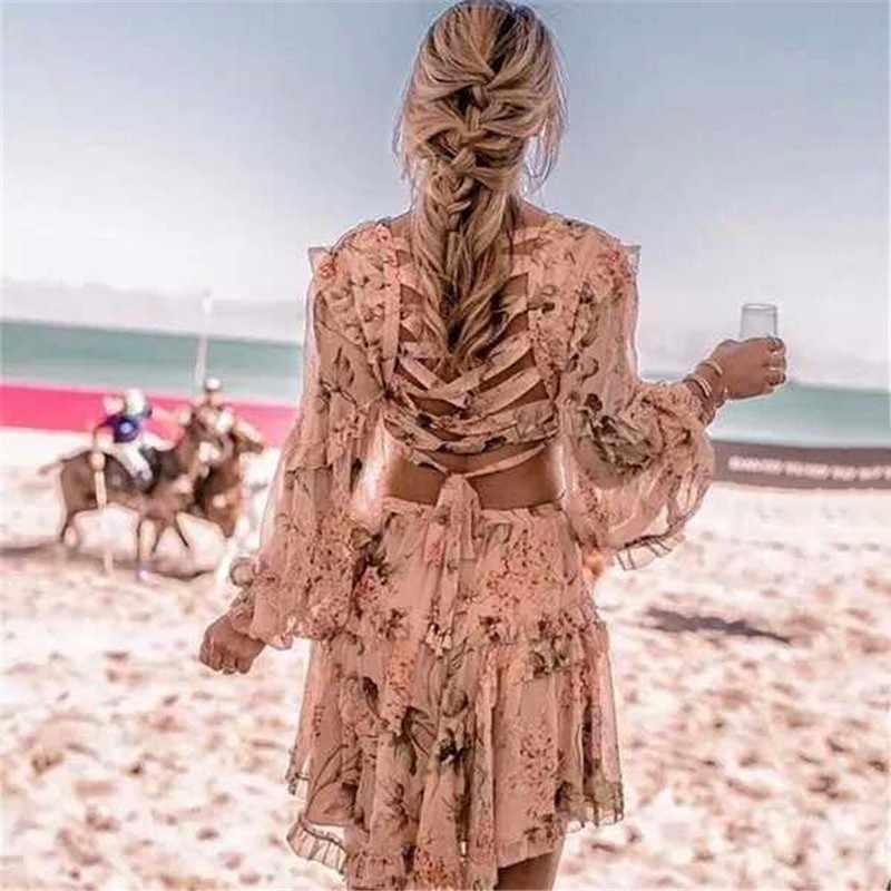 [LIVIVIO] сексуальное платье с принтом женские шифоновые мини-платья с v-образным вырезом и рукавами-фонариками с высокой талией летние модные милые новые