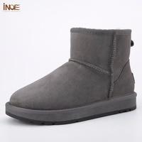 INOE обувь мужская Классические модные прочные сапоги натуральная кожа овечьий натуральный мех зимние замшевые зимние ботинки для мужчин ко