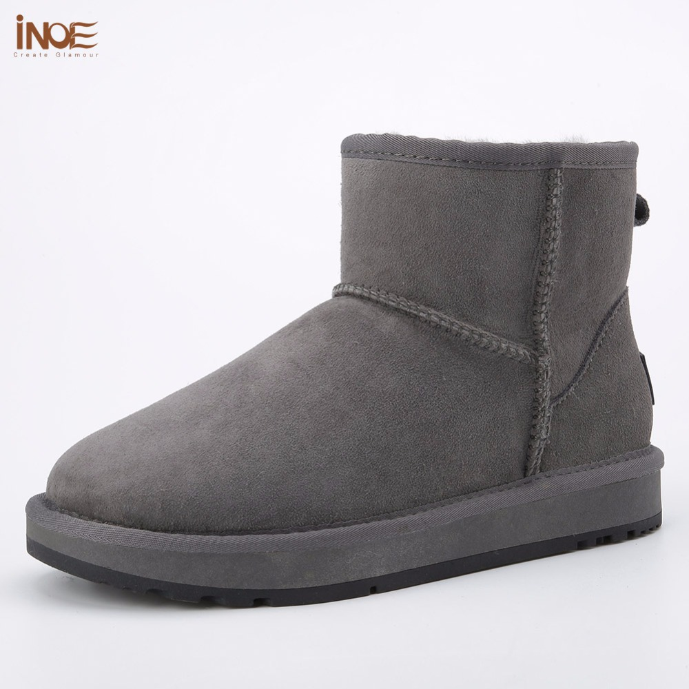 INOE real sheepskin leather sheep fur lined man short winter suede snow boots for men ankle winter shoes black grey non-slip
