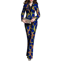 Fashion African print women blazer with pant suit elegant African suit dashiki patterns Ankara suits tailored made for ladies