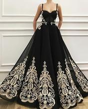 Smileven Black Sweetheart evening dress Spaghetti Straps saudi arabia Prom Dress A Line Appliqued Party dresses patterns