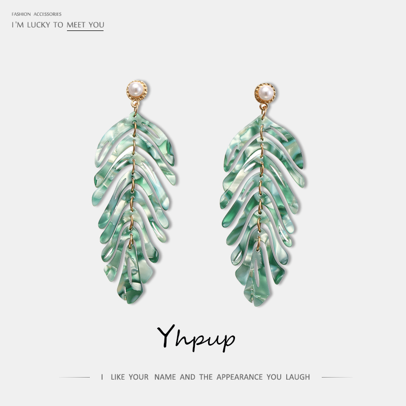 Yhpup Drop Shipping Leaf Acrylic Dangle <font><b>Earrings</b></font> Plant Brand <font><b>ZA</b></font> Pearl boucle d'oreille femme 2019 for Women Party Jewelry Gift image