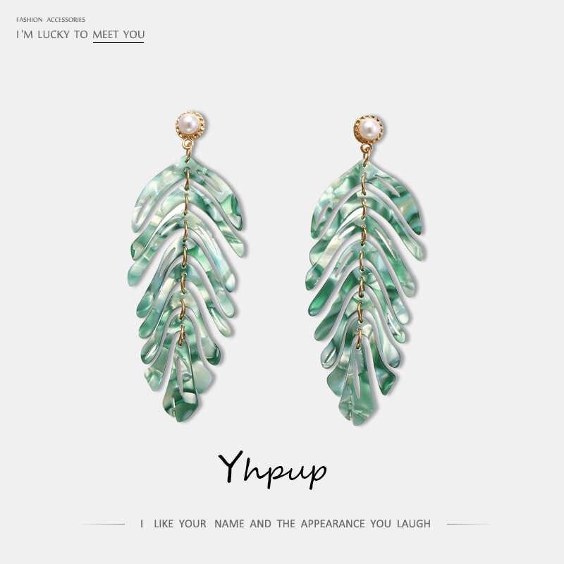 Yhpup Drop Shipping liść akrylowe Dangle kolczyki roślin marki ZA Pearl boucle d'oreille femme 2019 dla kobiet Party biżuteria prezent