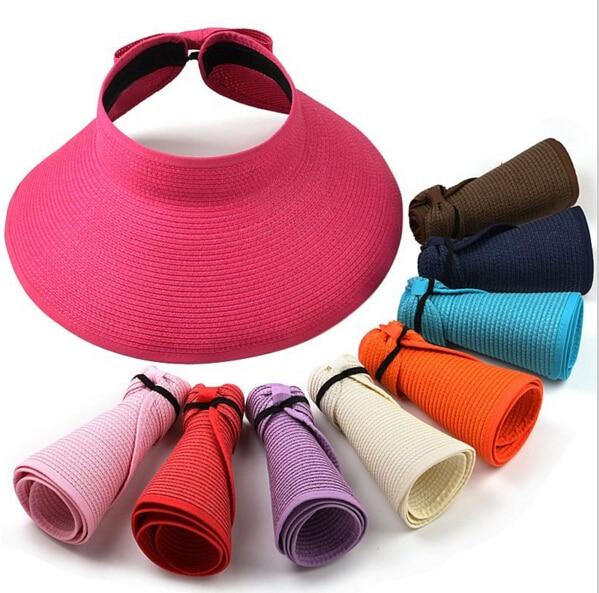 MYTL New Fashion Women Lady Foldable Roll Up Sun Beach Wide Brim Straw Visor Hat Cap