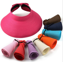 MYTL New Fashion Women Lady Foldable Roll Up Sun Beach Wide Brim Straw Visor Hat Cap