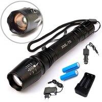 8000 Lumen Torcia Elettrica-Mode del CREE XM-L T6 Impermeabile Torcia A LED Zoomable di Messa A Fuoco Della Torcia lampe + 2*18650 Battery + caricatore