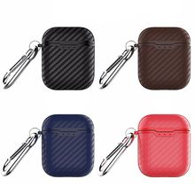 Carbon Fiber Texture Soft Silicone Protective Cover Anti-fingerprint Washable Shockproof Case Skin for Airpods Charging Box