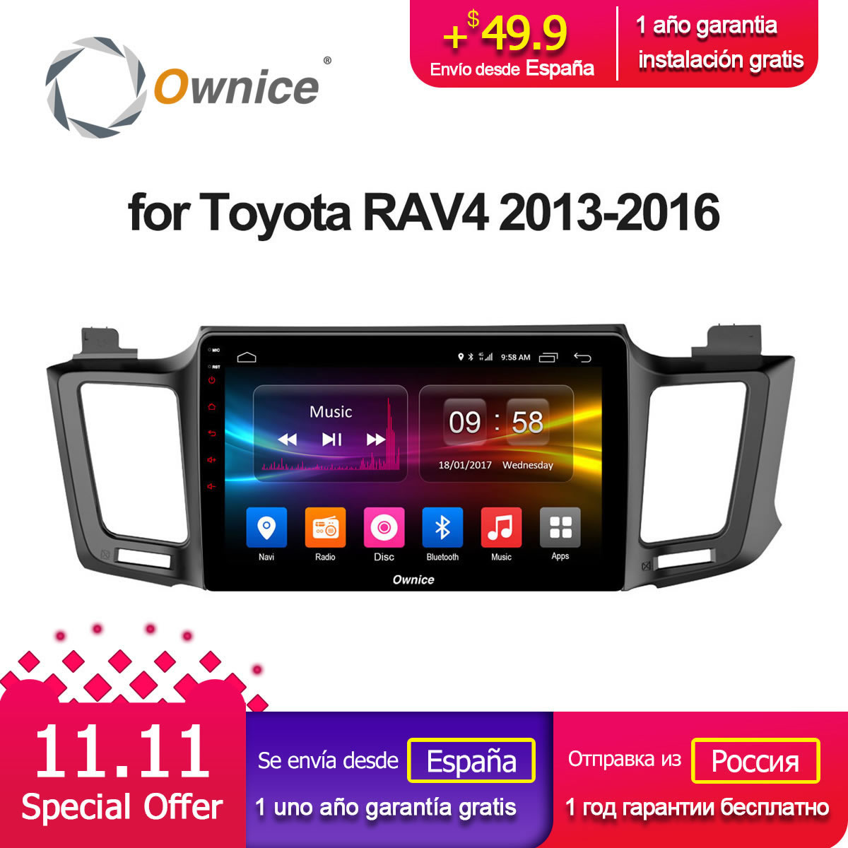 10.1 Ownice C500+ G10 Android 8.1 Octa 8 Core For Toyota RAV4 2013-2015 2016 Car DVD player Navigation GPS Radio 2G RAM 4G LTE 10 1 ownice c500 g10 octa 8 core android 8 1 car dvd gps player for toyota tundra 2007 2013 sequoia 2008 2018 stereo radio