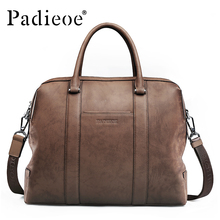 Genuine Leather Men's Vintage Classical Briefcase Business Totes For Male Luxury Designer Shoulder Messenger Bags Brown MEN BAG