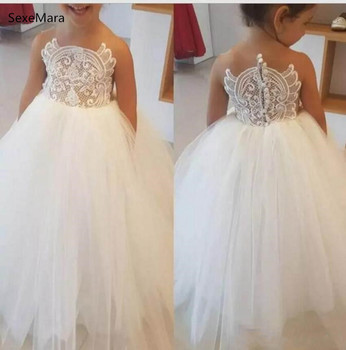 White Puffy Tulle Flower Girl Dresses O Neck Lace Appliqued Ball Gown Baby Girl Birthday Dresses Party Gown Custom Made Size