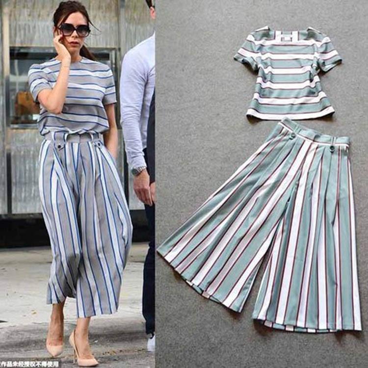 Victoria Beckham Style Women Summer Pants Set 2015 Fashion