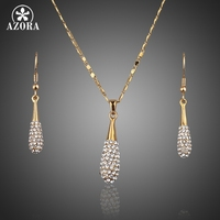 18K Real Gold Plated SWA ELEMENTS Austrian Crystal Water Drop Drop Earring And Pendant Necklace Set