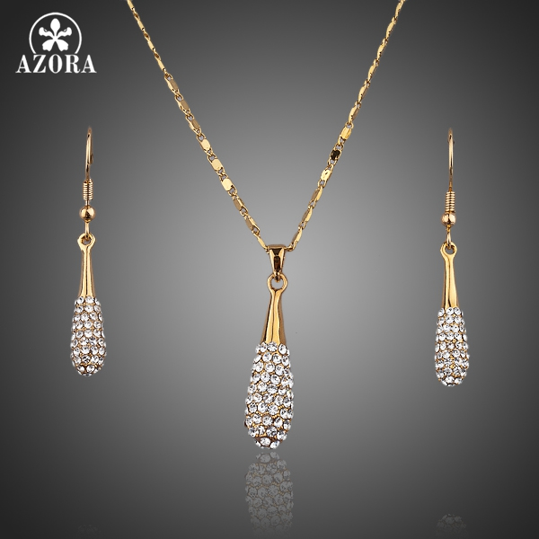 AZORA Gold Color Stellux Austrian Crystal Water Drop Drop Earring and Pendant Necklace Set TG0022