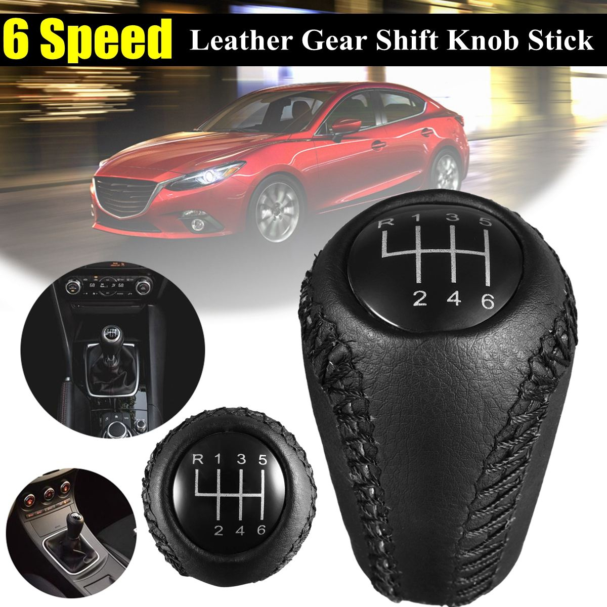 US $8 35 37% OFF|6 Speed Leather Gear Knob Stick Shift For Mazda 3 BK BL 5  CR CW 6 II GH CX 7 ER MX 5 NC III 2005 2006 2007 2008 2009 2010 2011-in