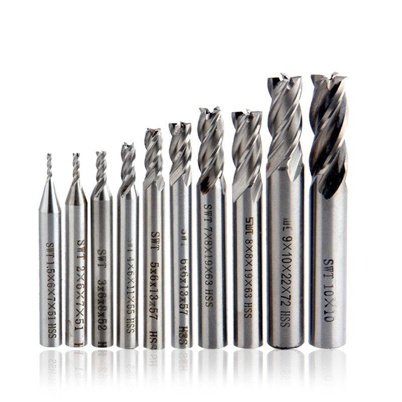 Milling Cutters 1.5-12mm HSS-AL 4 Flutes CNC Cutter Sets Straight Shank Cutting Tools