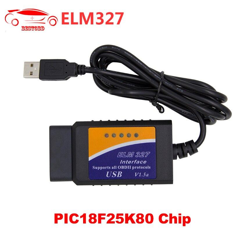 Prix pour ELM327 V1.5 USB Version Avec PIC18F25K80 Puce Auto Diagnostic Scanner Soutien J1850 Protocole