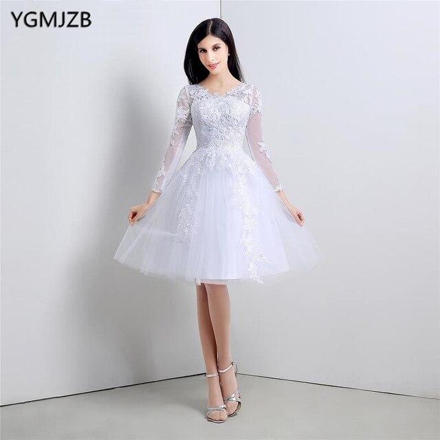 Brautkleid 2018 Short Lace Wedding Dress A Line V Neck Long Sleeves ...