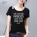 Summer Style David Bowie T Shirts Woman Short Sleeve Rock Bowie WE CAN BE HEROES JUST FOR ONE DAY T-Shirt Cotton Women Top