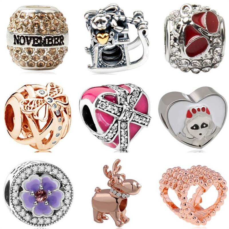 Beads & Jewelry Making Btuamb Punk Style Carved Flower Handbag Firework Mickey & Minnie Cartoon Charm Beads Fit Pandora Original Bracelets Diy Jewelry