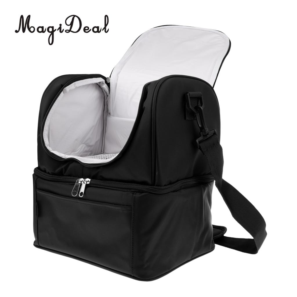 MagiDeal Insulated Lunch Box Cooler Bag Tote Carry Shoulder Strap Container Black