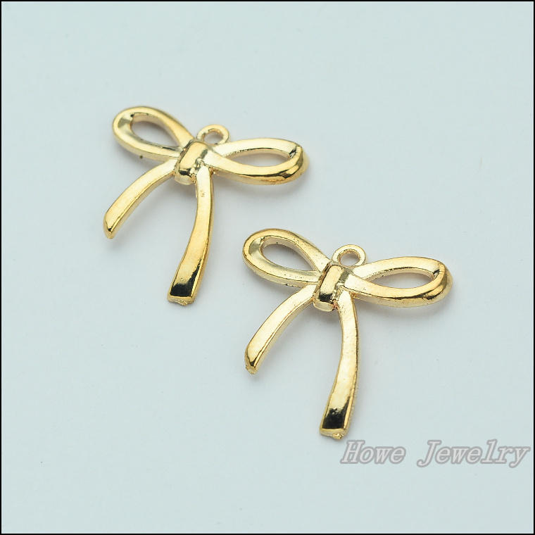 wholesale 50 pcs alloy gold color jewelry bow pendants charms wholesale 50 pcs alloy gold color jewelry bow pendants charms for bracelet necklace diy jewelry making jc 649 aloadofball Gallery