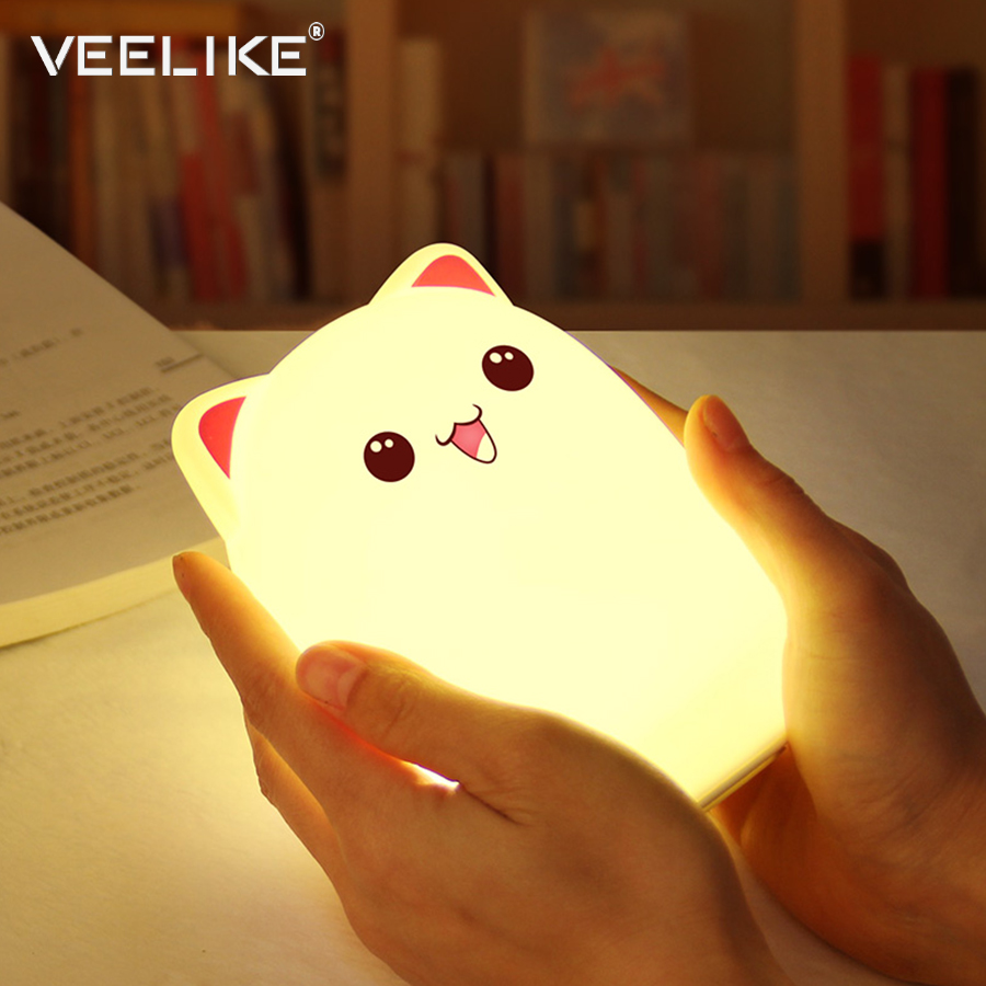 Veelike USB Rechargeable LED Night Light Cartoon Cat Soft Silicone LED Light Kids Room Nursery Lamp for Christmas Children Gift icoco usb rechargeable led magnetic foldable wooden book lamp night light desk lamp for christmas gift home decor s m l size
