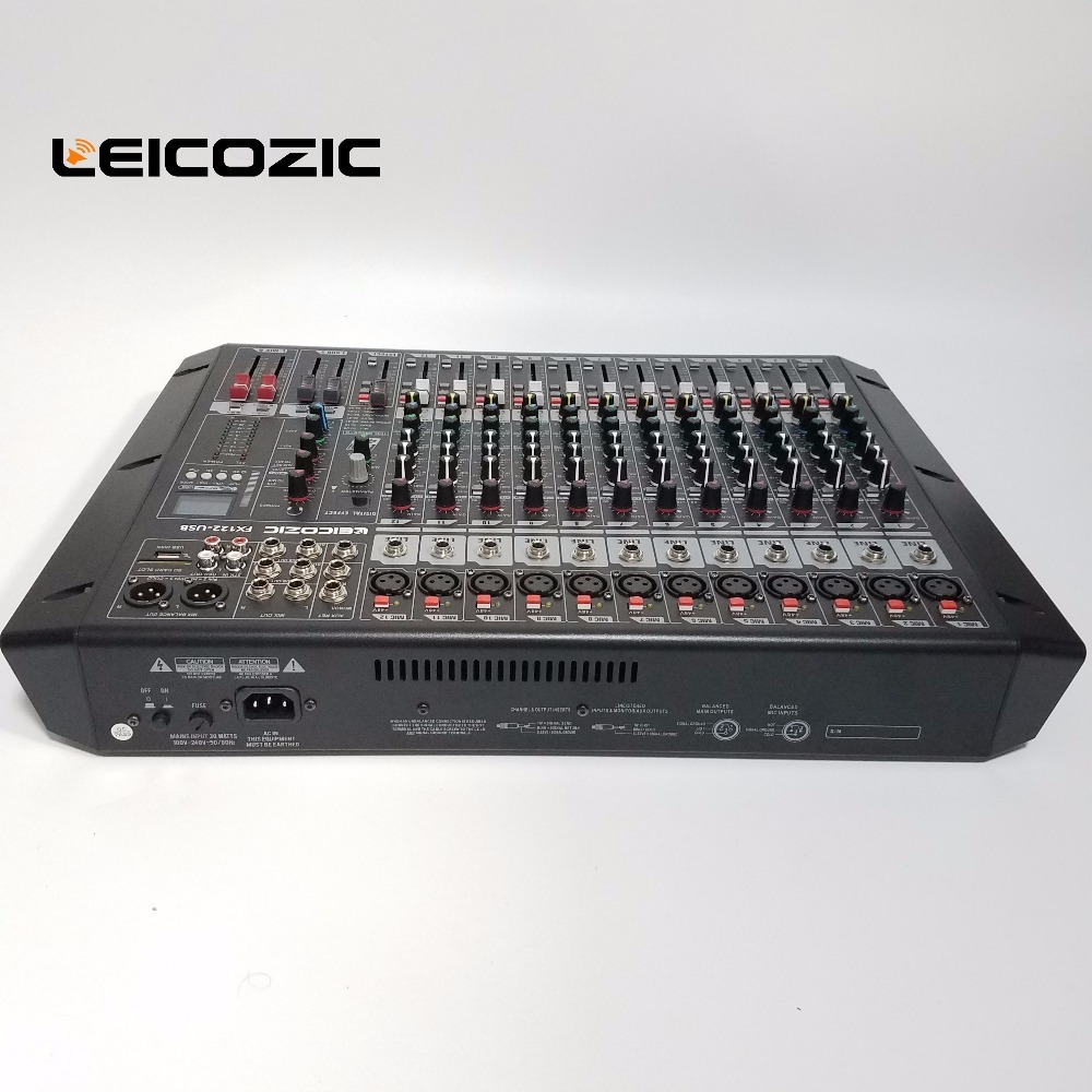 Leicozic Audio Mixer FX122-USB Rack Mount digital mixer DSP MP3 player with USB/SD card jack Audio digital processor mixer dj