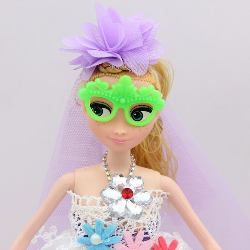 30cm Barbie Dolls Wearing Glasses Bride Wedding Dress Toys Keychain