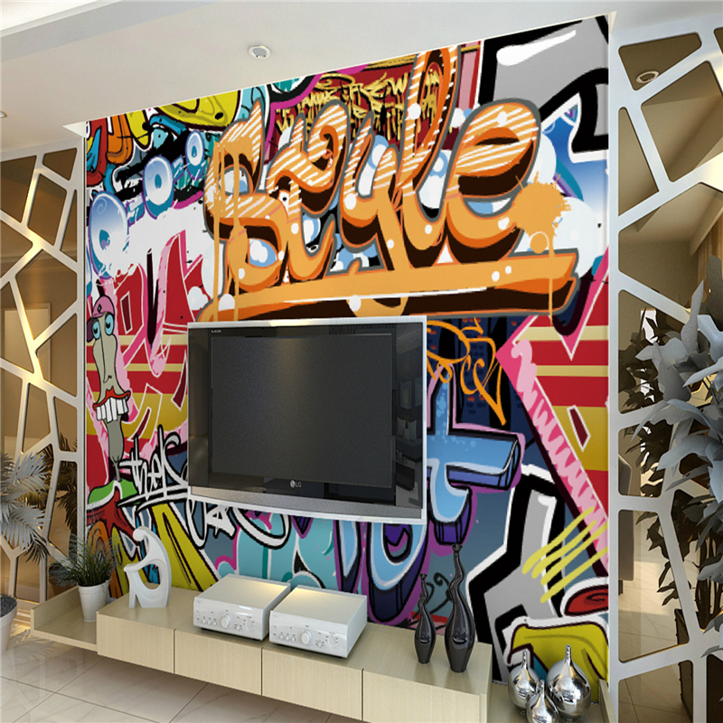 Wallpaper Living Room Wall Graffiti Personality