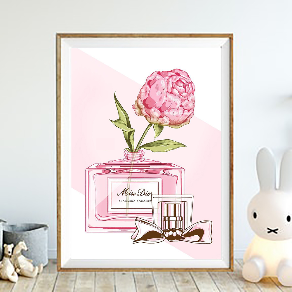 e6d97a525 Canvas Painting Pink Peony Bottle Flower Nordic Wall Art Poster Prints  Decoration Pictures Living Room framed Home Decorative-in Painting &  Calligraphy from ...