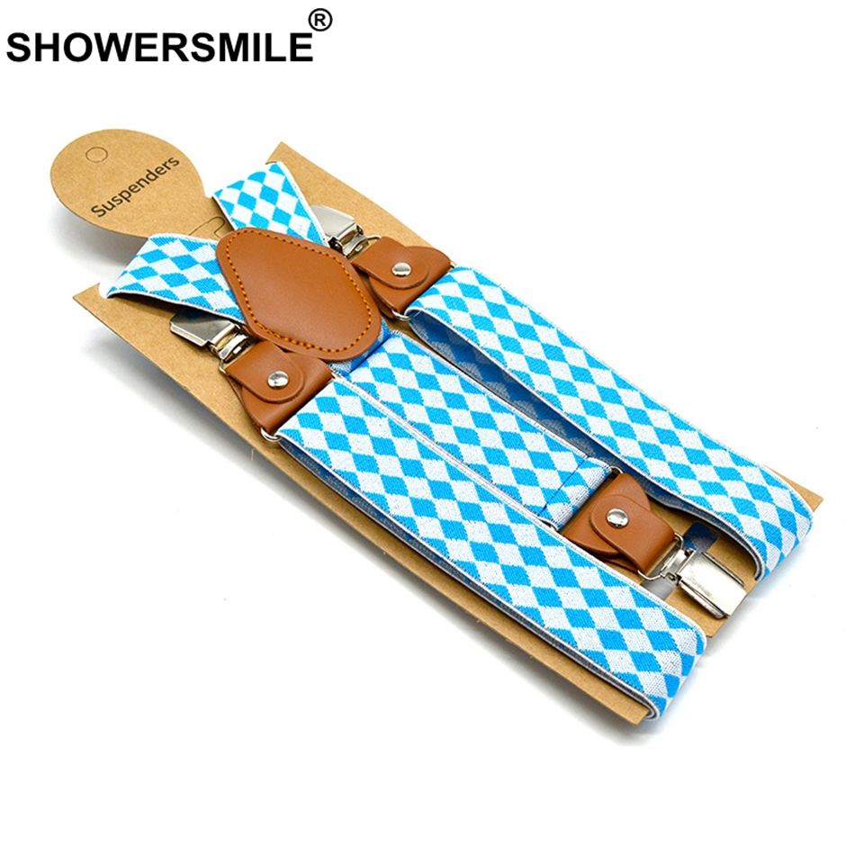 SHOWERSMILE Unisex Men Women Suspenders Stylish Blue White Argyle Braces For Trousers High Quality Straps Male Female Belts