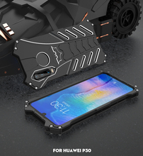 Shockproof Metal Case For Huawei P30 Pro Lite Hard Cover Heat Dissipation Aluminum Shell Outdoor Sports Superhero+Straps+Stand