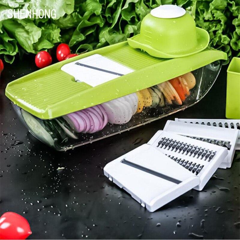 Mandoline Slicer Vegetable Cutter con 5 Lame Manuale Della Patata Carota Grattugia per Verdure Cipolla Affettatrice Cucina Accessori