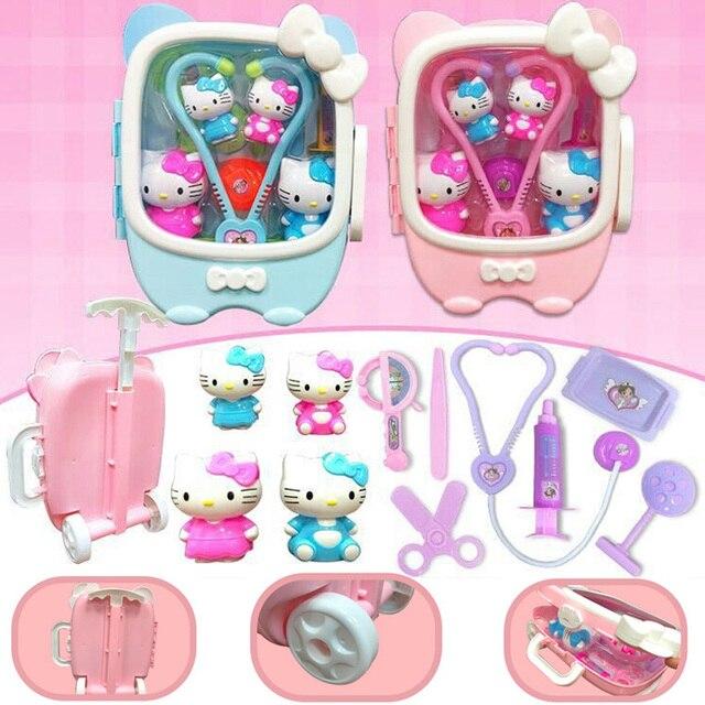 11pcs Set Doctor Toy For Children Play Games Medical Kit Nurses Tool Hello Kitty Kids Girls Christmas Birthday Gifts