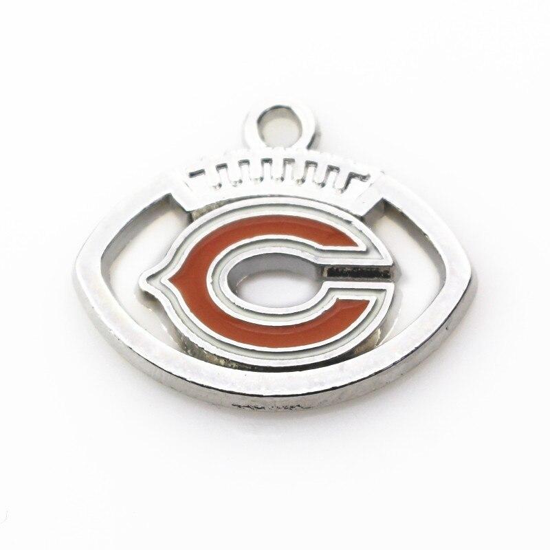 Новый стиль 20 шт./лот Футбол Спорт Чикаго медведи мотаться Талисманы висит браслет и ожерелье Плавающие Подвески Ювелирные изделия