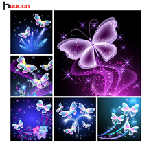 Huacan Diamond Embroidery Butterfly Pictures Of Rhinestones DIY Diamond Painting Animal  Full Square Diamond Mosaic Home Decor