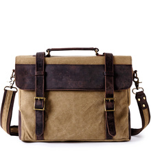 Men's Briefcase Bags Canvas vintage Briefcase man Business Shoulder Messenger Bag men Laptop Handbag male Messenger Bags