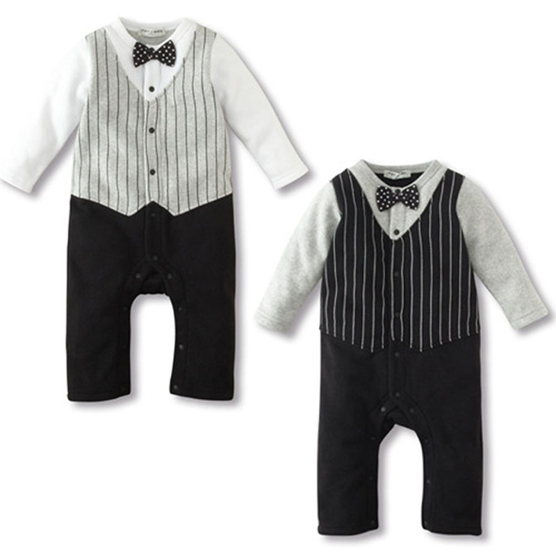2018 Sping Children Boys Clothing Set Trendy Kids Baby Boy Wedding Formal Party Bow Tie Suit Romper Jumpsuit Outfit Clothes Autu