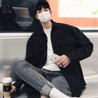2018 Yeni erkek Moda Mont Elbise Gevşek Rahat Uzun Kollu Marka Ekose Yün Karışımları Fransız Manşet Gömlek Artı Boyutu S-2XL