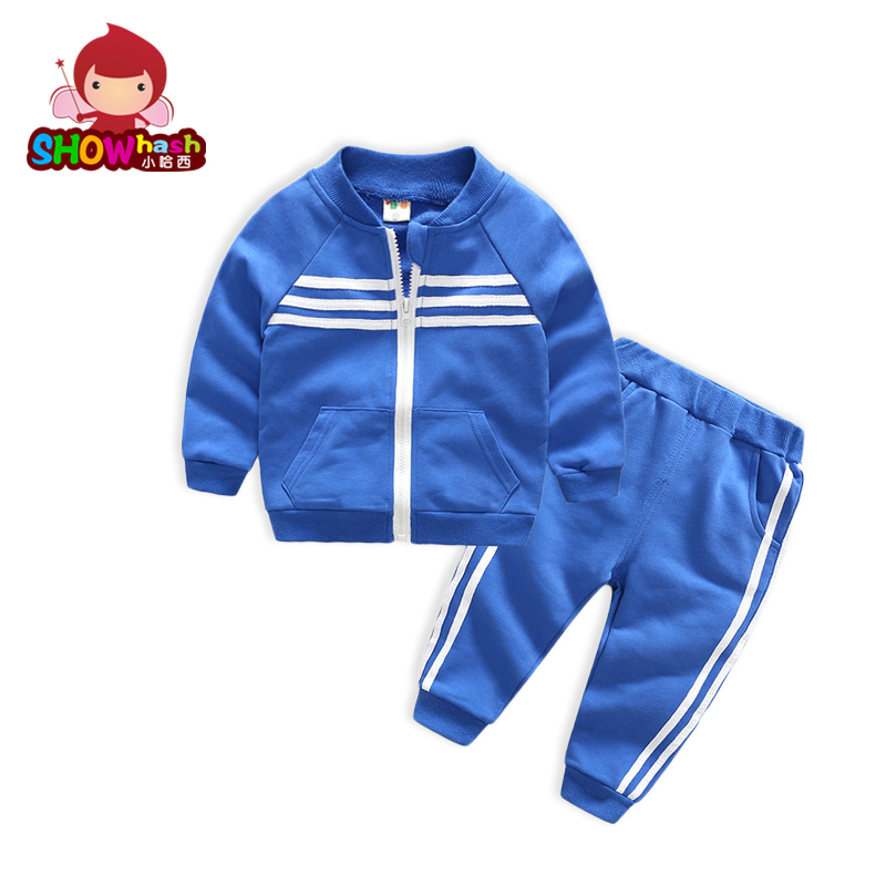 SHOWHASH Newest Spring Autumn Boys Clothes Sets Colorful Active Cotton Striped Zipper Long Sleeved Coat Solid
